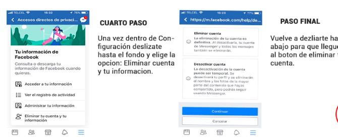 paso 2 para darse de baja en facebook desde el celular